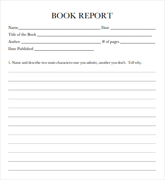 Book Report For Middle School
