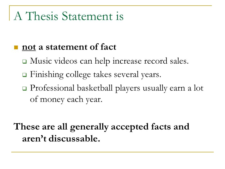 Help creating thesis statement