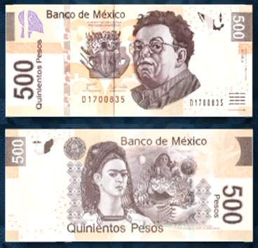 Frida Kahlo and Diego Rivera on 500 Peso