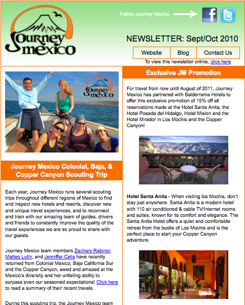 Journey Mexico Newsletter