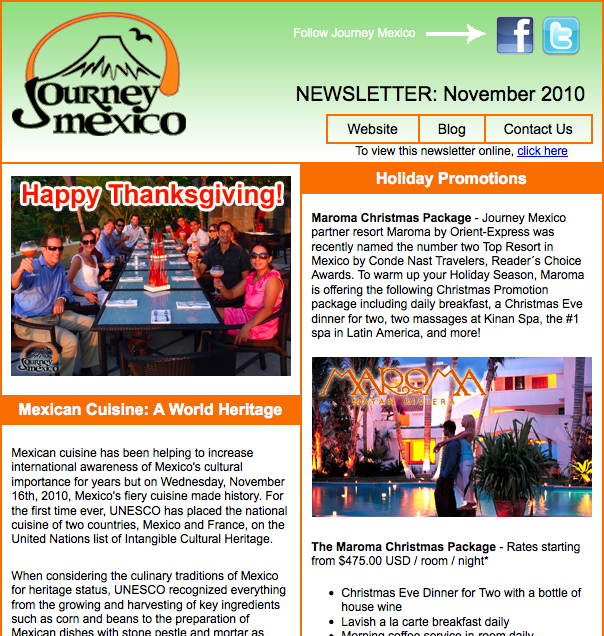 Journey Mexico November Newsletter
