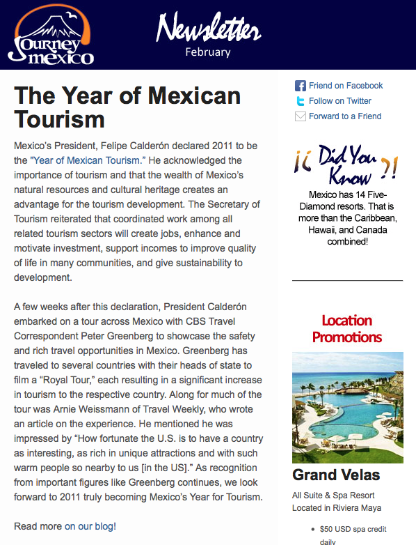 Journey Mexico's Feruary Newsletter