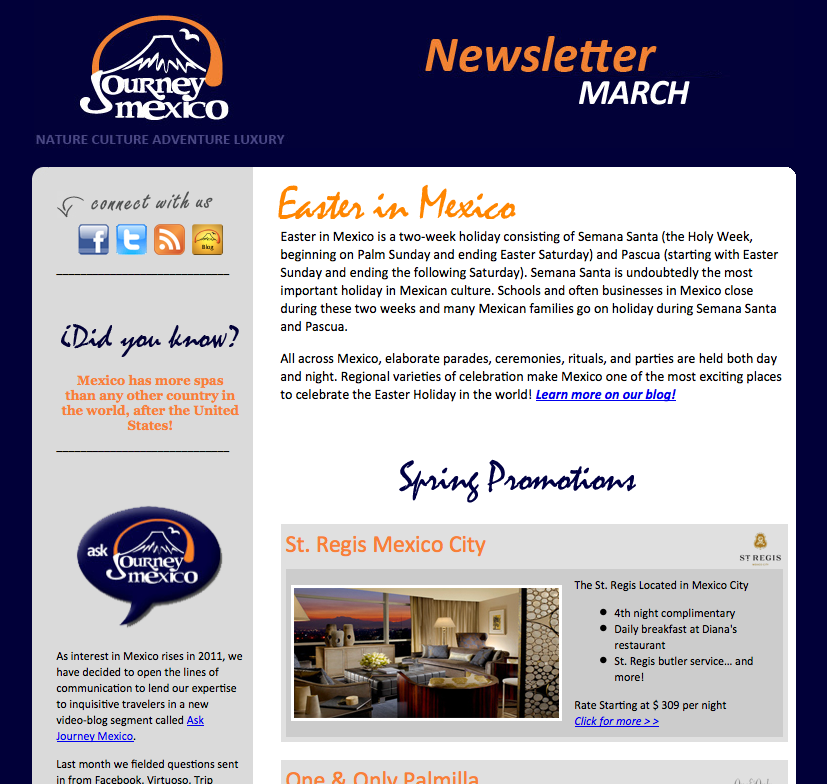 Journey Mexico March Newsletter