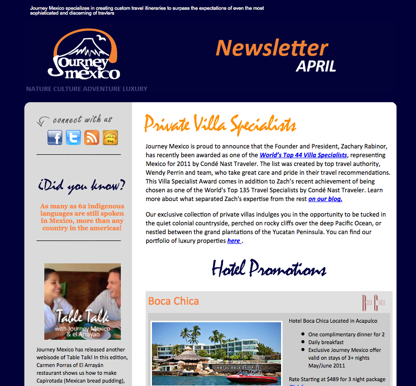 Journey Mexico April Newsletter