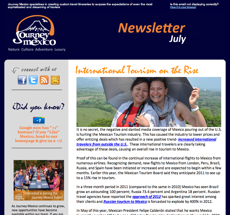 journey mexico july newsletter