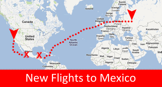 flight map from russia and the united states to mexico