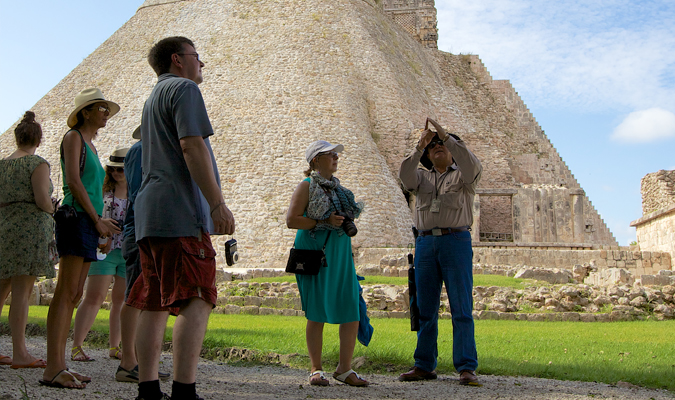 Local guide at Mayan ruins Yucatan