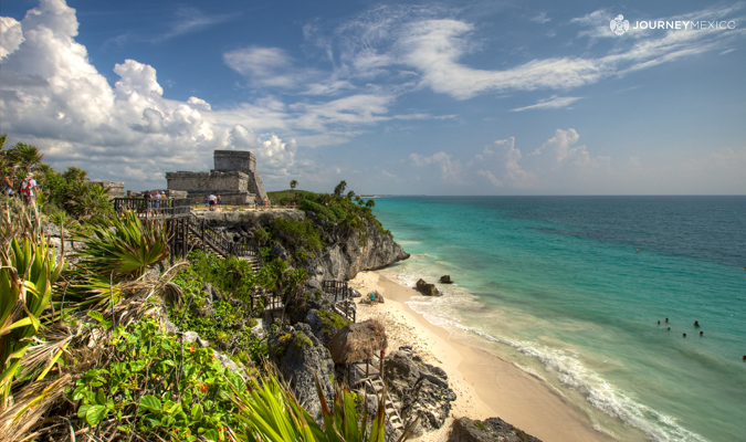 Famous ruins at Tulum archaeological site