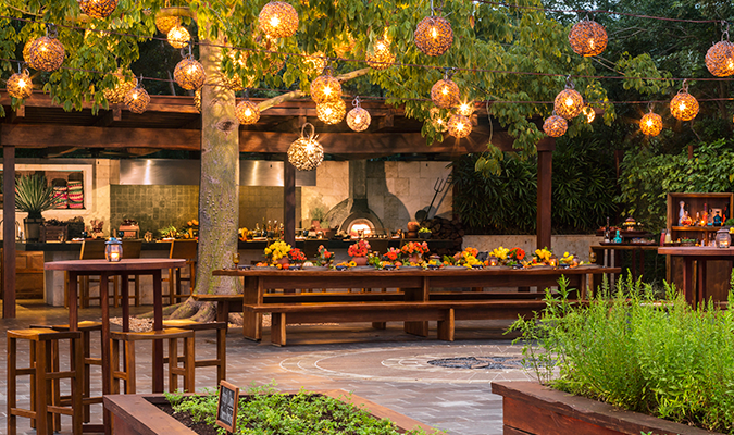 Rosewood Mayakoba la ceiba garden and kitchen
