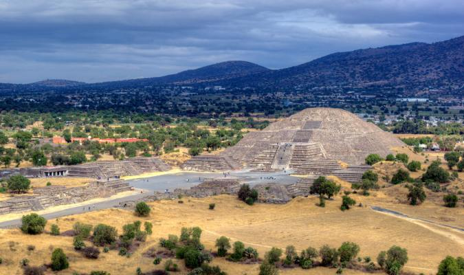 The Pyramid of the Moon in the ancient city of Teotihuacan