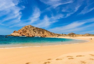 The golden sands of Santa Maria beach in Los Cabos