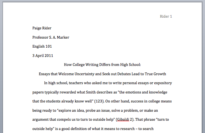 Heading For A College Essay