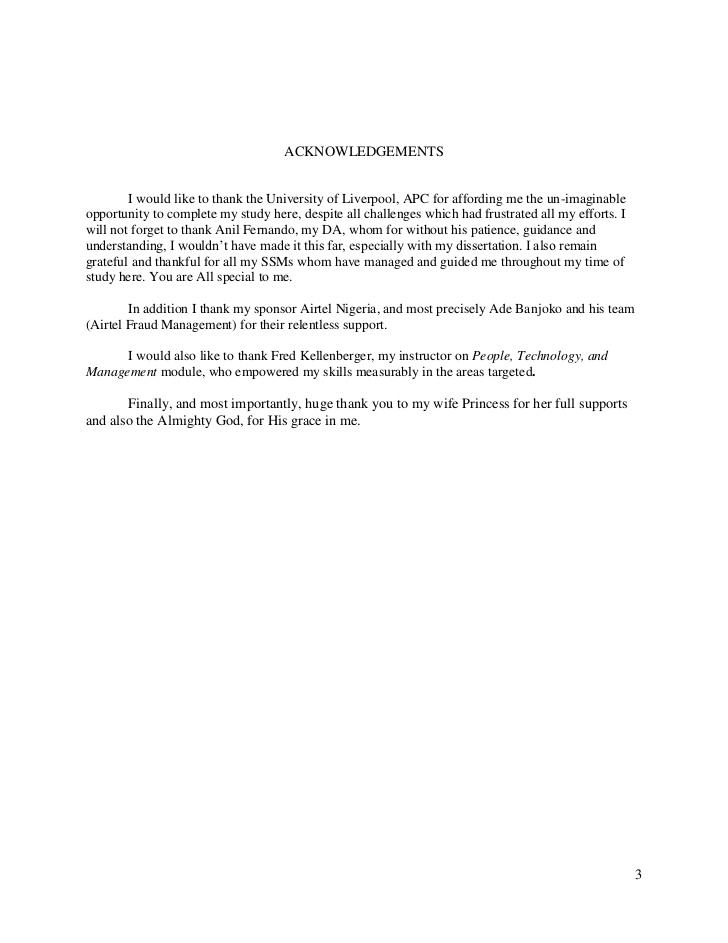 Acknowledgements Of Dissertation – Acknowledgments Page